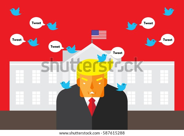 WASHINGTON, DC, US - February 26, 2016: Vector illustration of American president, Donald Trump in front of the White House with Twitter bird tweeting around representing his reliant on social media.