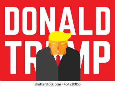 WASHINGTON, DC, US - JULY 18, 2016: Vector illustration of presidential candidate, Donald Trump together with his name on red background.