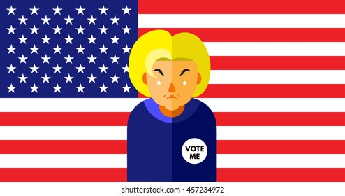 WASHINGTON, DC, US - JULY 18, 2016: Vector illustration of presidential candidate, Hillary Clinton on American flag background.
