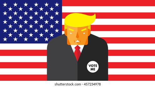 WASHINGTON, DC, US - JULY 18, 2016: Vector illustration of presidential candidate, Donald Trump on American flag background.