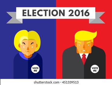 WASHINGTON, DC, US - JULY 6, 2016: Vector illustration of presidential candidates, Hillary Clinton and Donald Trump wearing Vote Me badges, on blue and red background.