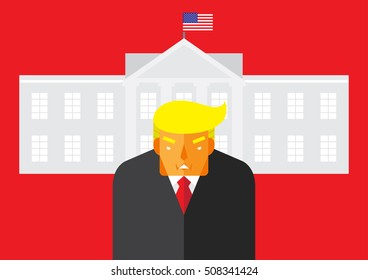 WASHINGTON, DC, US - November 1, 2016: Vector illustration of the American presidential candidate, Donald Trump in front of the White House, the residence of the President of the United States.