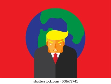 WASHINGTON, DC, US - November 2, 2016: Vector illustration of the presidential candidate, Donald Trump in front of the globe on a red background representing him as a world leader.