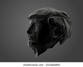 Washington DC / USA - 2020: Donald Trump Jr, President of the United States of America in Black and White. Dark Low Poly Vector Greyscale Silhouette 3D Rendering