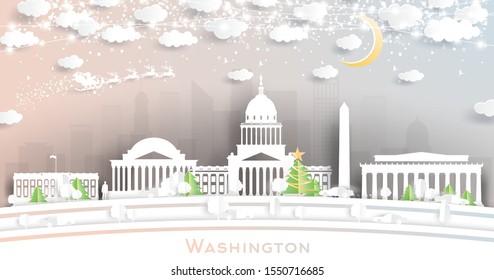 Washington DC USA City Skyline in Paper Cut Style with Snowflakes, Moon and Neon Garland. Vector Illustration. Christmas and New Year Concept. Santa Claus on Sleigh.