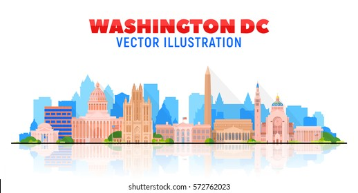 Washington DC, (USA) city skyline vector illustration on sky background.Business travel and tourism concept with modern buildings. Image for presentation, banner, web site.