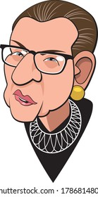 Washington, DC / USA - July 30 2020 : A caricature illustration of Chief Justice Ruth Bader Ginsburg, as she appears at the Supreme Court.