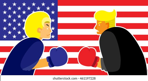 WASHINGTON, DC, USA - JULY 31, 2016: Vector illustration of presidential candidates, Hillary Clinton and Donald Trump wearing boxing gloves, on american flag background.