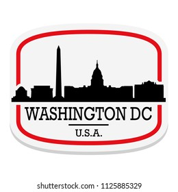 Washington DC USA Label Stamp Icon Skyline City Design Tourism