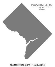 Washington DC USA Map in grey