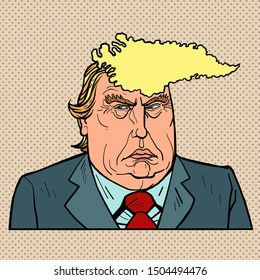 Washington DC, USA - September 15, 2019. Caricature of Greenland and Donald Trump. US President with Danish Island Hairstyle. Editorial politics celebrity news. Comic cartoon pop art retro vector