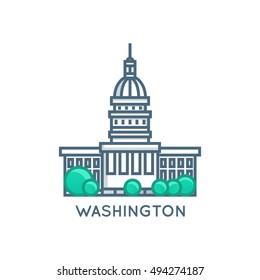 Washington DC, USA White House City Symbol. Vector Flat Line Illustration
