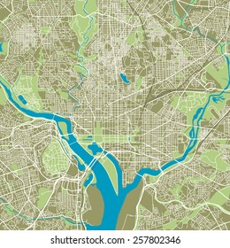 Washington DC vector map ultra detailed