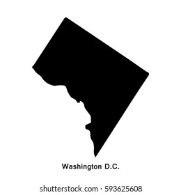 Washington District of Columbia black map,border with name of state