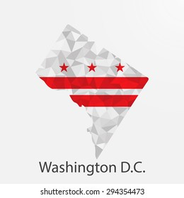 Washington District of Columbia flag map in geometric,mosaic polygonal style.Abstract tessellation,background. Low poly vector illustration EPS10