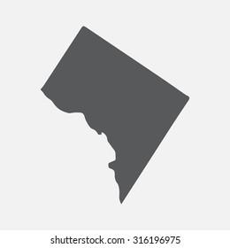 Washington District of Columbia grey state border map.