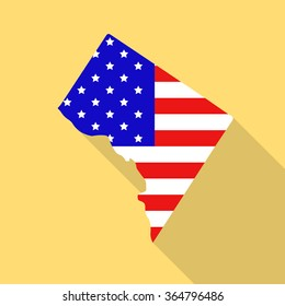 Washington District of Columbia state map in style of USA national flag. Flat style with long shadow