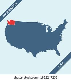 Washington highlighted on USA map