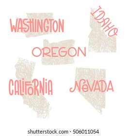 Washington, Idaho, Oregon, California, Nevada USA state outline art with custom lettering for prints and crafts. United states of America wall art of individual states