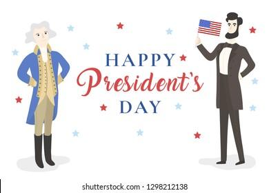 Washington and Lincoln character. Presidents Day. Vector flat cartoon illustration.