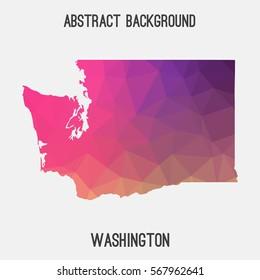 Washington map in geometric polygonal,mosaic style.Abstract tessellation,modern design background. Vector illustration