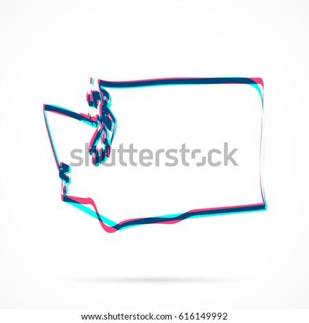Washington Map Society.Washington Map Hand Drawn Blue Pink Stock Vector Royalty Free