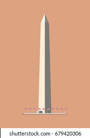 Washington monument. Flat style design vector illustration