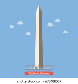 Washington monument in flat style. Vector illustration