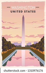 Washington monument retro poster. USA Washington  travel illustration. United States of America greeting card. vector illustration.