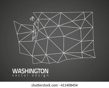 Washington polygonal vector map