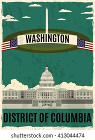 Washington retro poster.Washington  Capitol and Monument on green background with americal flags.District of Columbia.