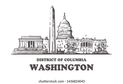 Washington sketch skyline. Washington, District of Columbia hand drawn vector illustration. Isolated on white background.