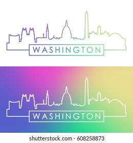Washington skyline. Colorful linear style. Editable vector file.