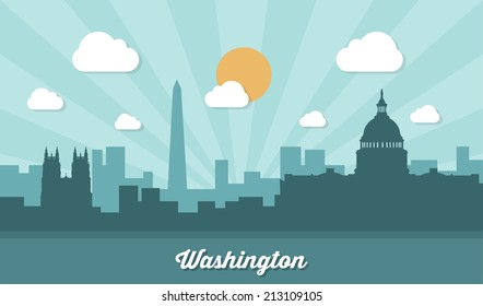 Washington skyline - flat design - vector illustration