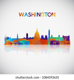 Washington skyline silhouette in colorful geometric style. Symbol for your design. Vector illustration.