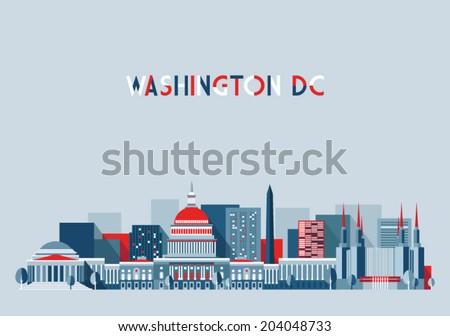 Washington skyline vector illustration