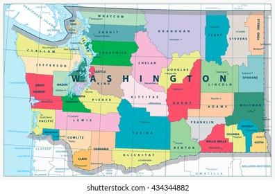 Washington state administrative map