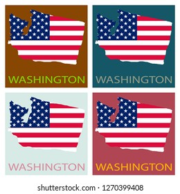 Washington state of America with map. Flag print on map of USA for geographic themes. Map of Washington state.
