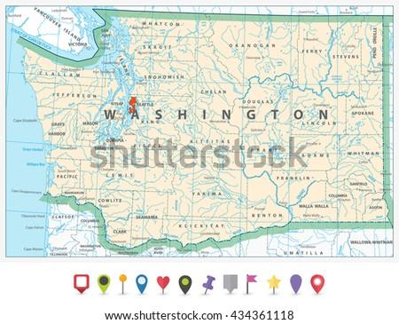 Washington State Detailed Map Flat Icon Stock Vector (Royalty Free ...