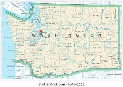 Washington state detailed map with rivers, lakes and cities.