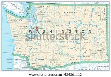 Washington State Detailed Map Rivers Lakes Stock Vector Royalty