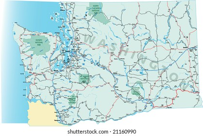 Washington state highway map with Interstates, U.S. highways and state roads as well as rivers and lakes. All layers separate for easy editing.