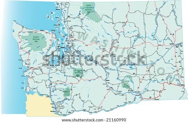 Washington State Highway Map Interstates Us Stock Vector (Royalty ...