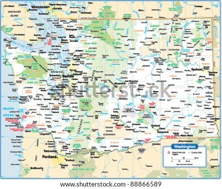 Washington State Map Stock-Vrgrafik (Lizenzfrei) 88866589 ... on