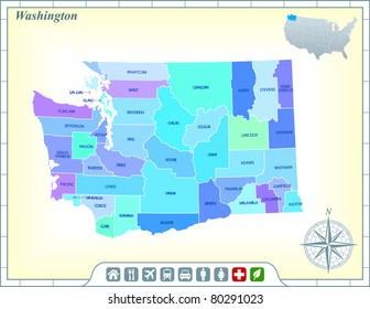 Washington State Map with Community Assistance and Activates Icons Original Illustration