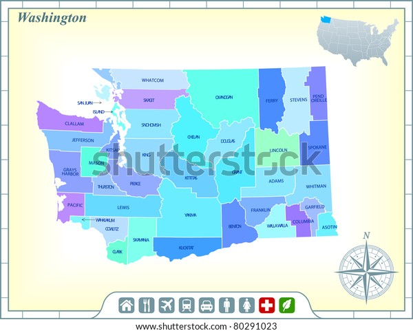 Washington State Map Community Assistance Activates Stock ...