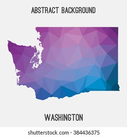 Washington state map in geometric polygonal style.Abstract tessellation,modern design background. Vector illustration EPS8