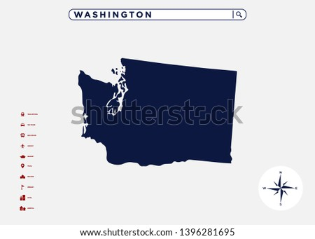 Washington State Map United States America Stock Vector (Royalty ...