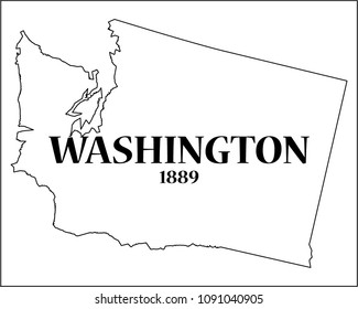 A Washington state outline with the date of statehood isolated on a white background