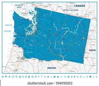 Washington state road map with rivers, lakes and highways.